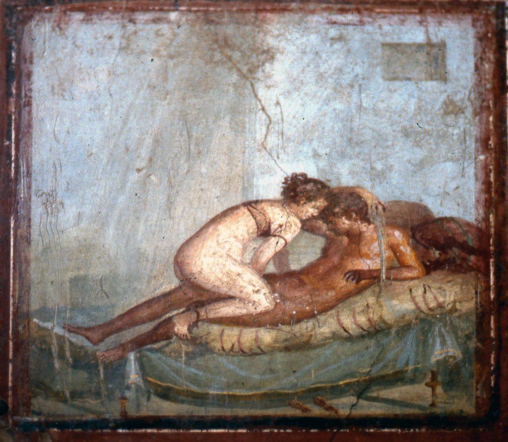 Liebe und Triebe. Oder: Lust auf den ersten Blick? - Liebesakt; Pompejanische Wandmalerei im Schlafgemach (Cubiculum) der Casa del Centenario (IX 8,3), 1. Jh. n. Chr.