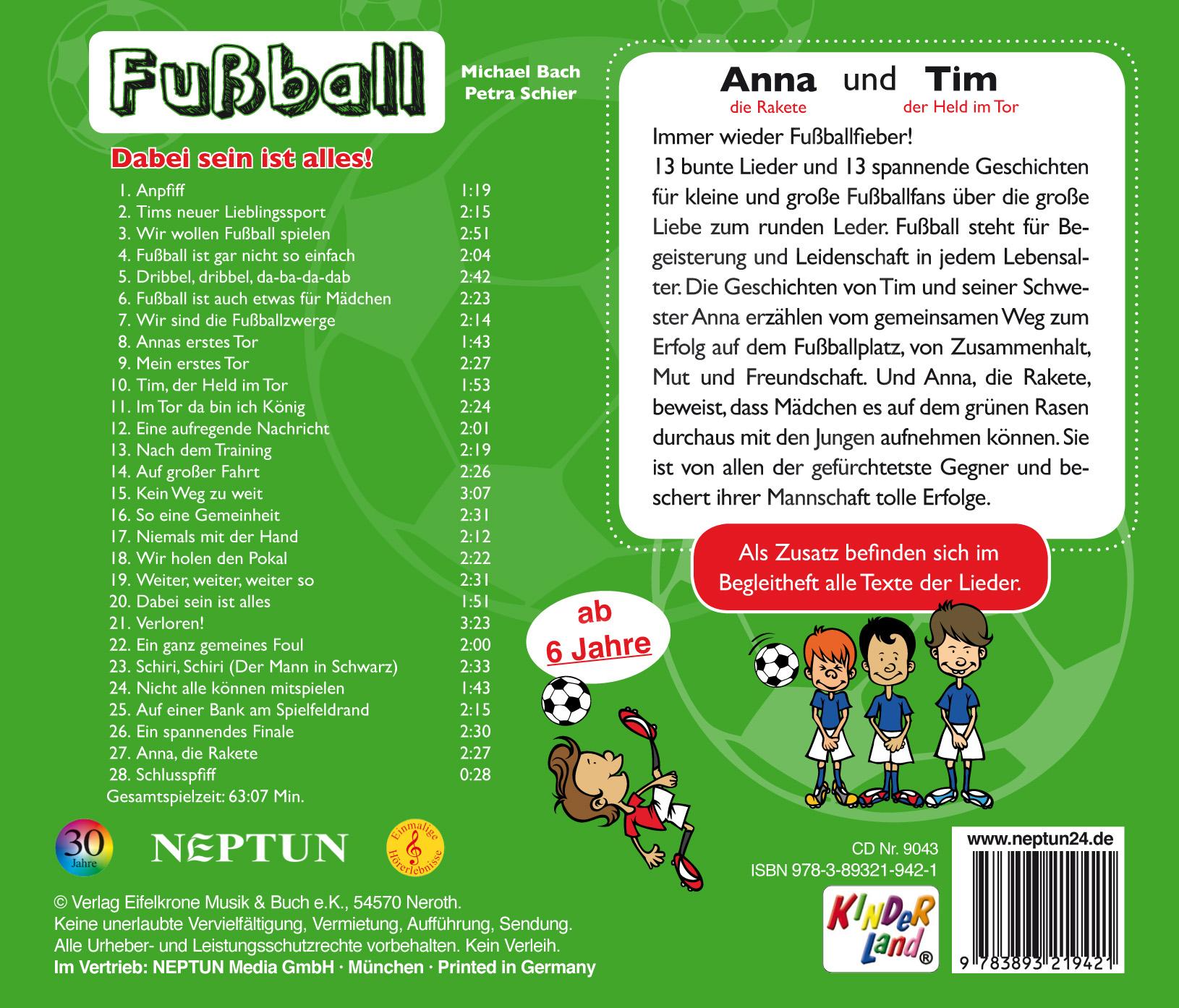Rückseite CD Fußball - Dabei sein ist alles
